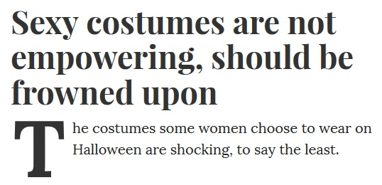 Sexy costumes not empowering, frowned upon - Slate headline | The Lonely Tribalist