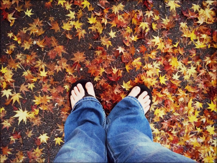 Fall November feet and autumn leaves | The Lonely Tribalist
