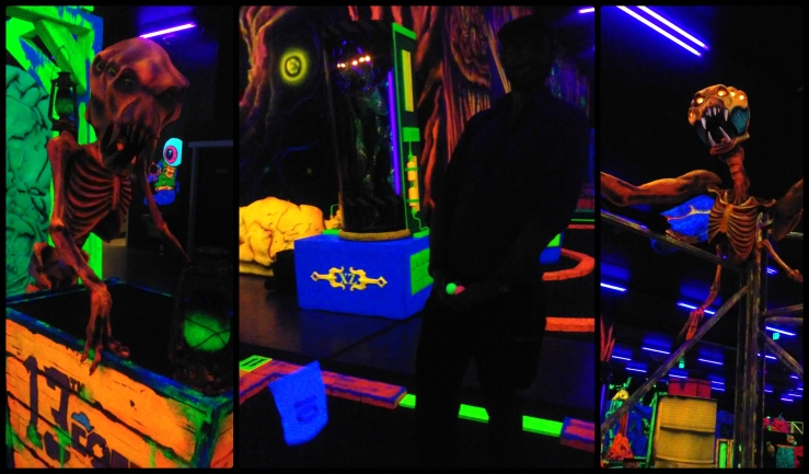 Moose glow in the dark alien glowing greens miniature golf | The Lonely Tribalist