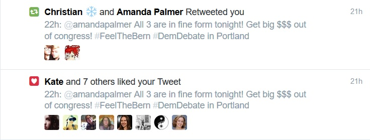 Amanda Palmer retweeted you democratic debate 2016 | The Lonely Tribalist