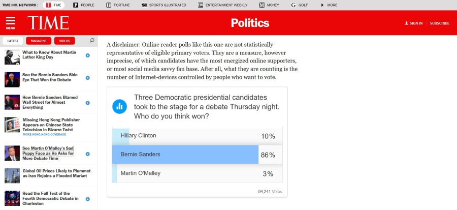 fourth democratic debate clinton sanders o'malley TIME poll | The Lonely Tribalist