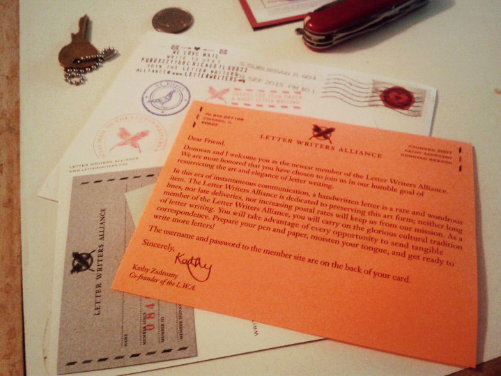 letter writers alliance welcome letter | the lonely tribalist