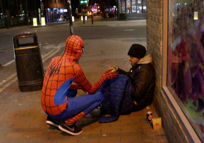 Spiderman feeds homeless birmingham england uk | The Lonely Tribalist