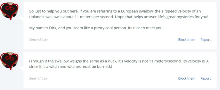 African or european swallow OKCupid 2 | the lonely tribalist