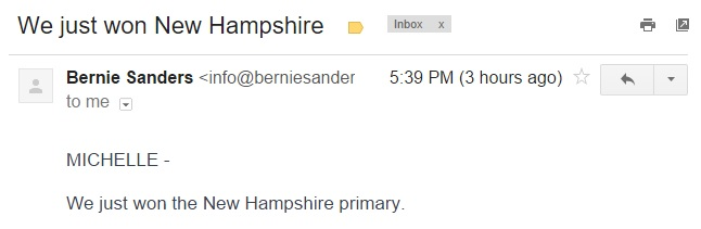 bernie sanders we just won new hampshire e-mail | the lonely tribalist