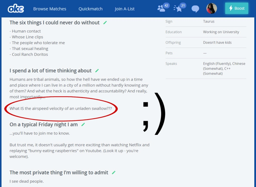 okcupid profile airspeed velocity unladen swallow monty python | the lonely tribalist